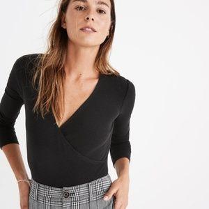 Madewell Wrap Black Bodysuit - XS - Black